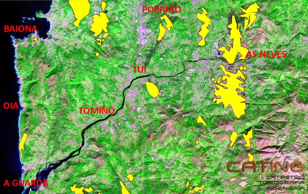 Topografía de los incendios en el sur de Pontevedra